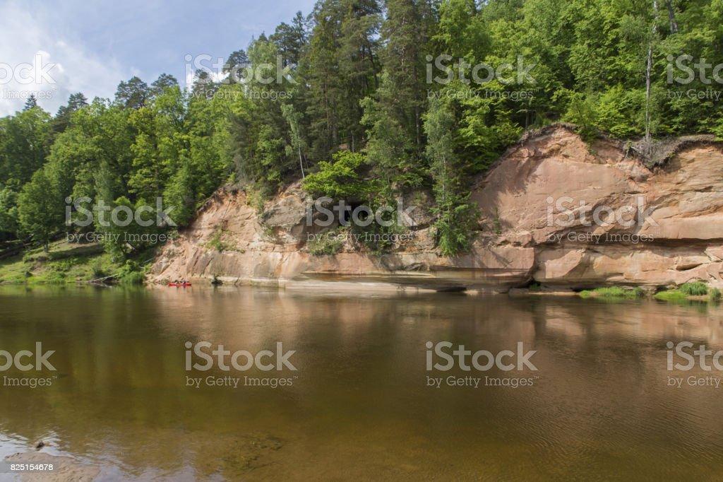 Sandstone cliffs Velnala Gauja royalty-free stock photo