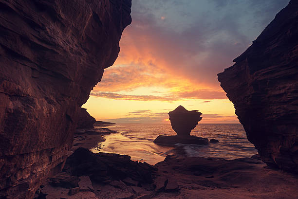 sandstone coast - prince edward island stock photos and pictures