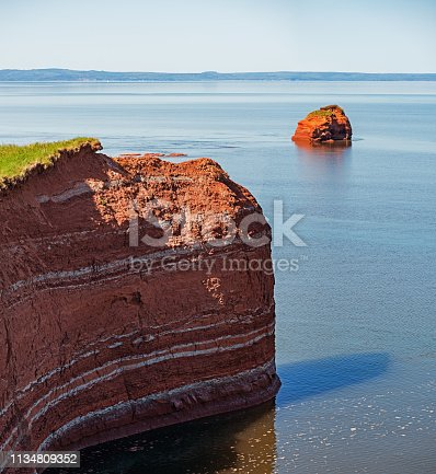 Sandstone coastline sculpted by the extreme tidal action of the Bay of Fundy.