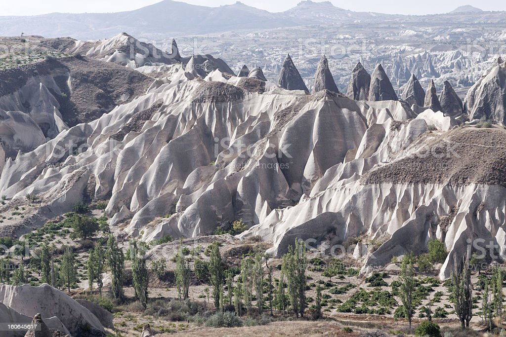 Sandstone formations in Cappadocia; Turkey royalty-free stock photo