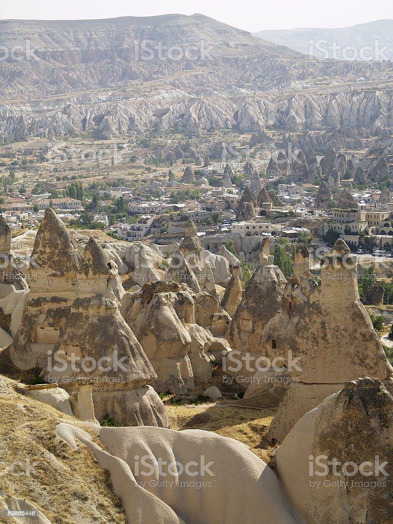 Sandsteinformationen in Kappadokien, Türkei Lizenzfreies stock-foto