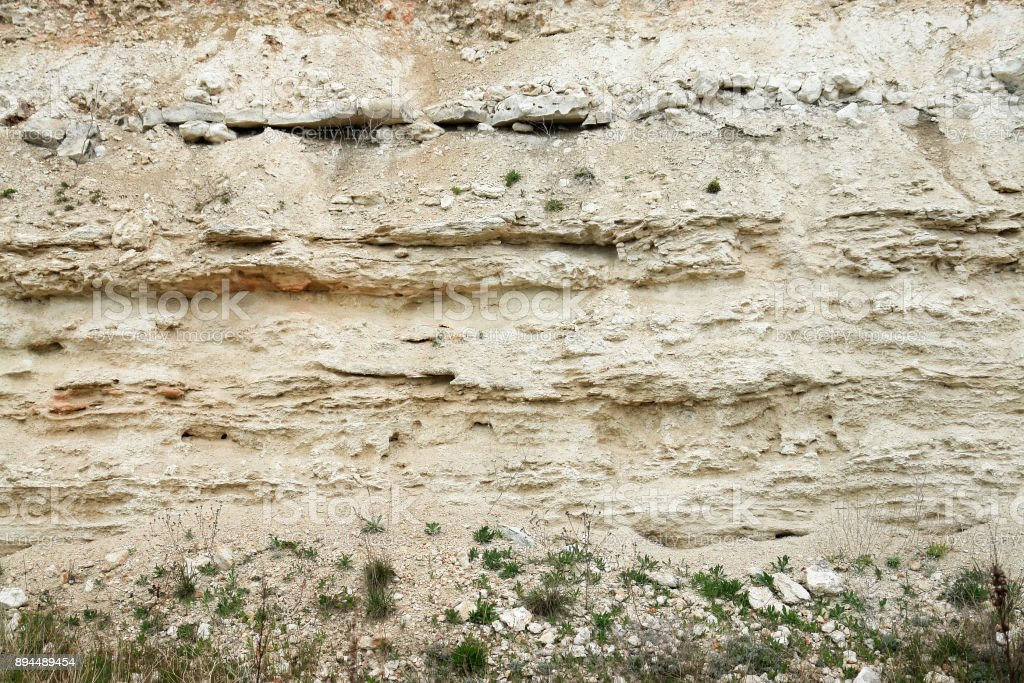 Sandstone layers of Earth epochs stock photo