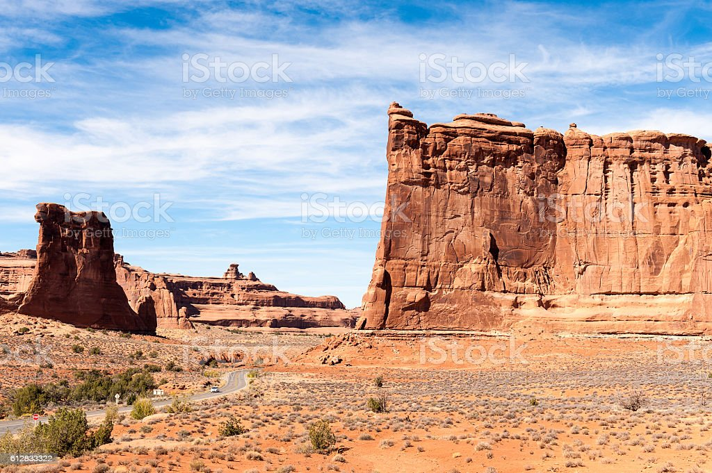 sandstone monuments at Park Avenue in Arches National Park, Utah stock photo
