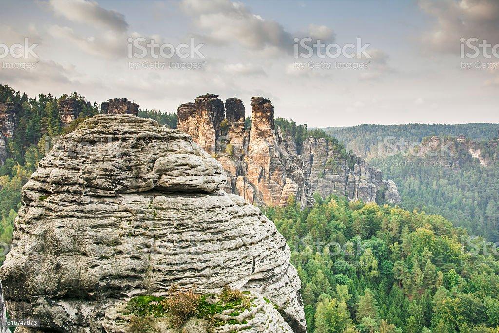 Sandstone Mountains in Saxony stock photo