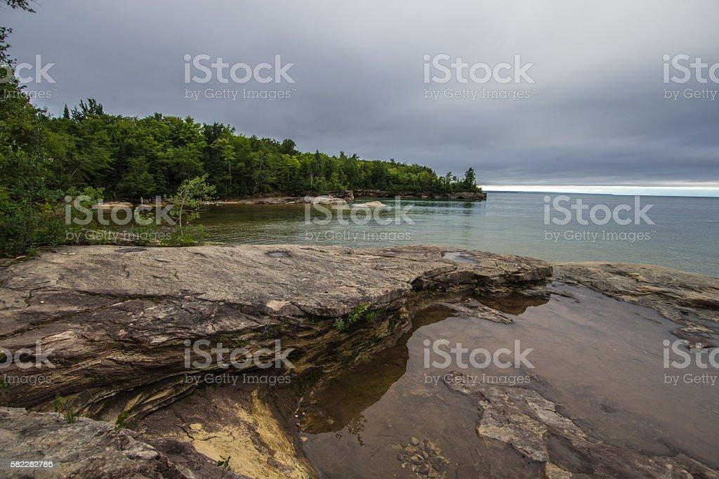 Sandstone Peninsula On The Shores Of Lake Superior stock photo