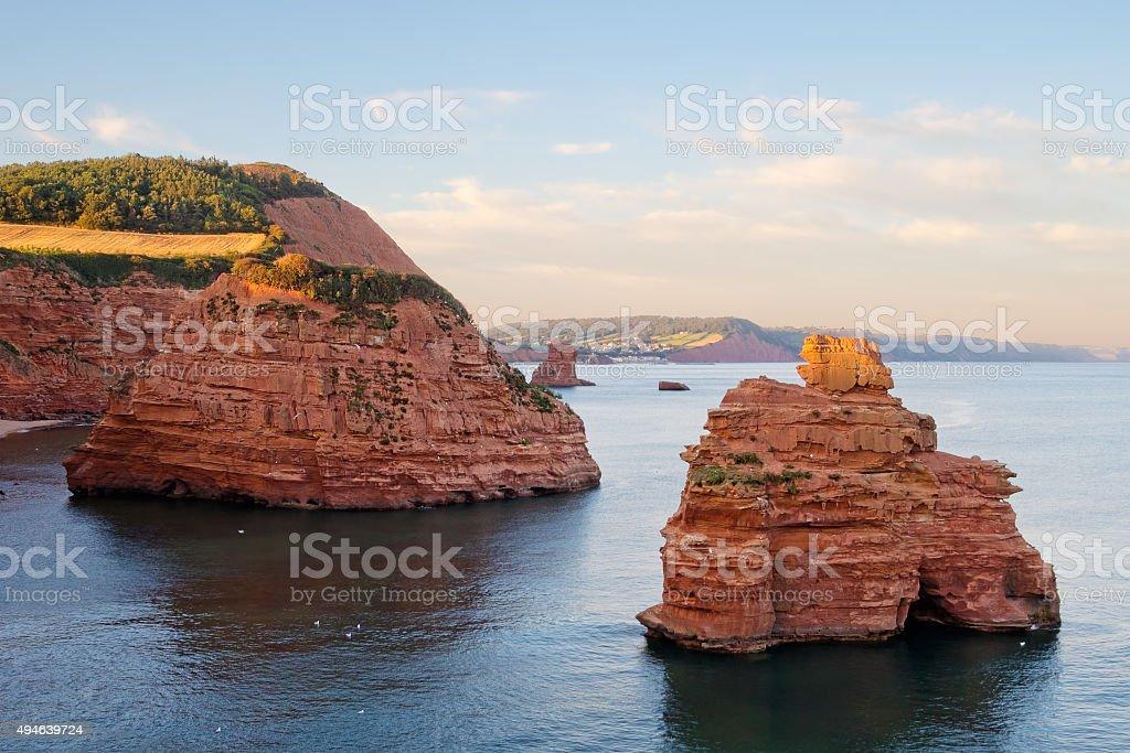 Sandstone pillars at Ladram Bay, Devon, Jurassic coast UK. stock photo