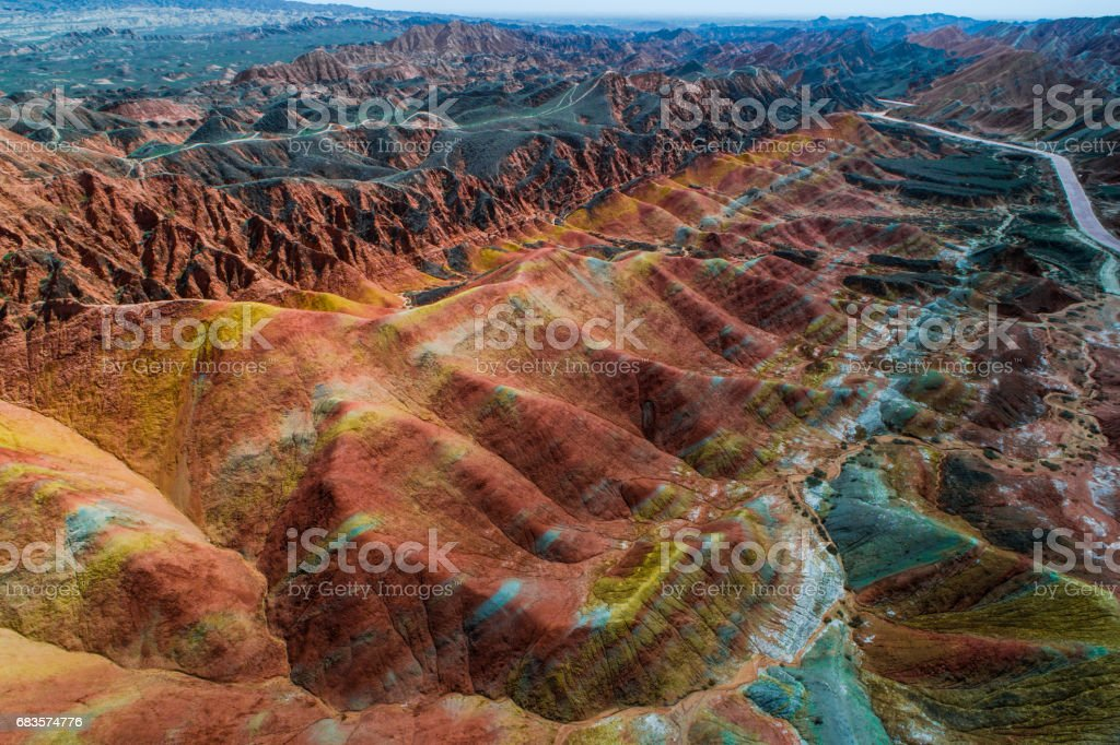 Sandstone rainbow mountains in Zhangye National Geopark stock photo