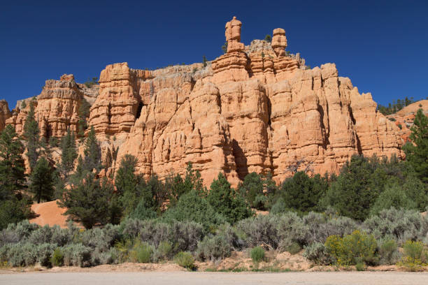 Sandstone Rock Formations in Red Canyon stock photo