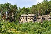 istock Sandstone rock sculptures Devils Heads near Zelizy, Czech Republic 1016599516