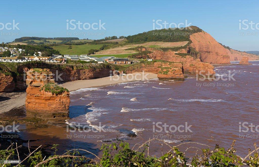Sandstone rock stacks Ladram Bay beach Devon England UK stock photo