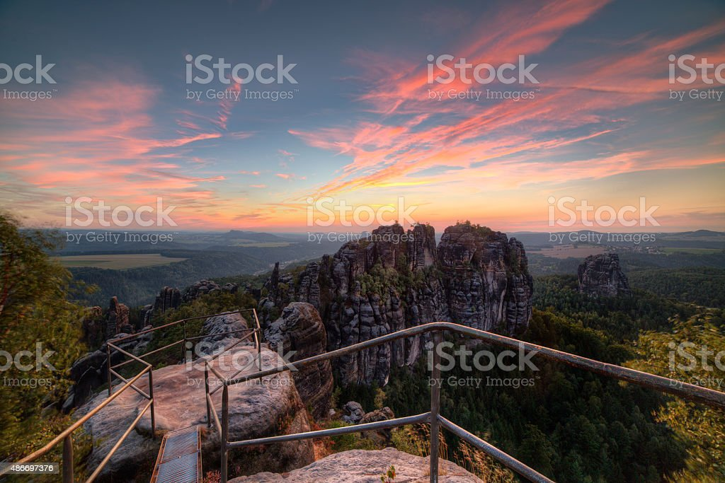 Sandstone rocks, forests and blue sky stock photo