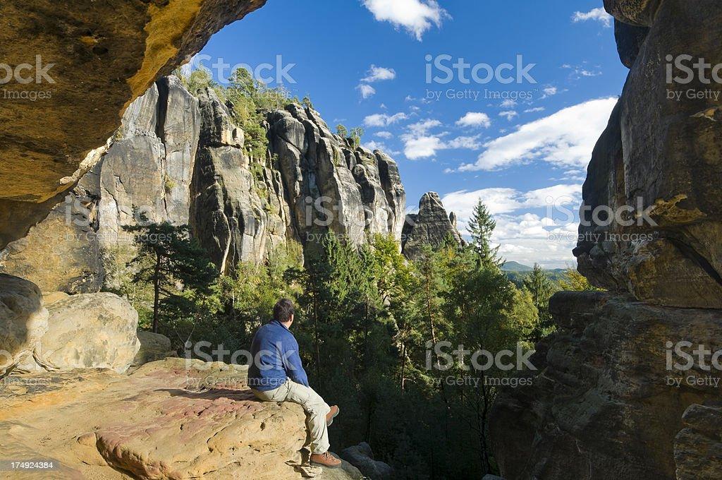Sandstone rocks in the Saxon Switzerland stock photo