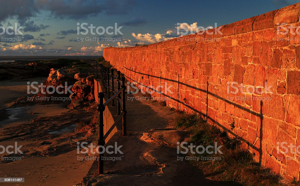 Sandstone Wall Walkway - Royalty-free Beach Stock Photo