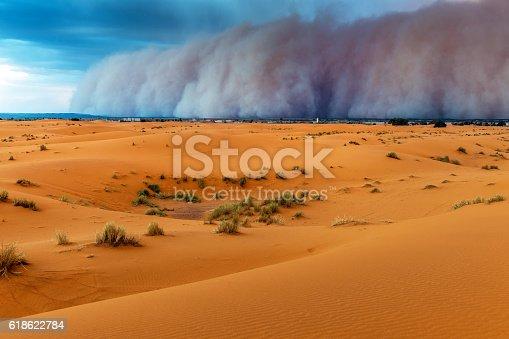 istock Sandstorm Approaching Merzouga Settlement,in Erg Chebbi Desert Morocco,Africa 618622784