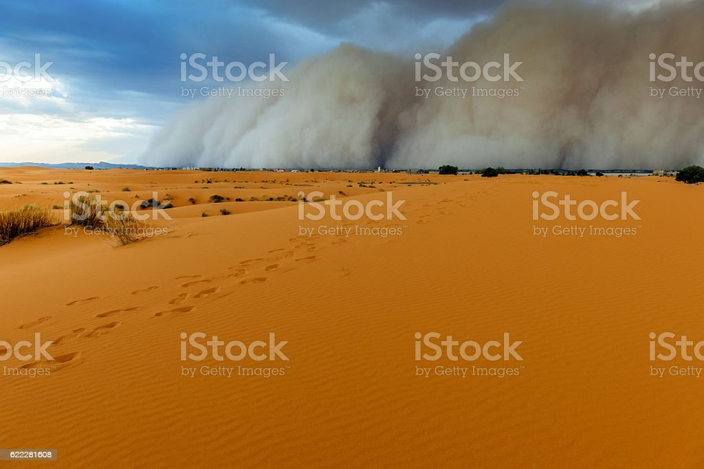 Sandstorm Approaching Merzouga Settlement,in Erg Chebbi Desert Morocco,Africa stock photo