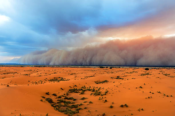 Sandstorm Approaching Merzouga Settlement,in Erg Chebbi Desert Morocco,Africa stock photo