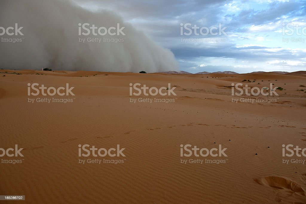 Sandstorm in Erg Chebbi Desert Morocco stock photo