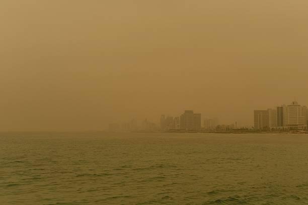 Sandstorm in Tel Aviv stock photo