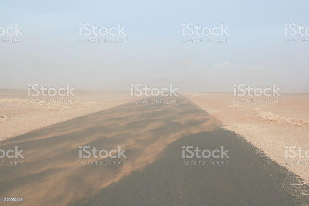 Sandstorm in the Namib Desert stock photo