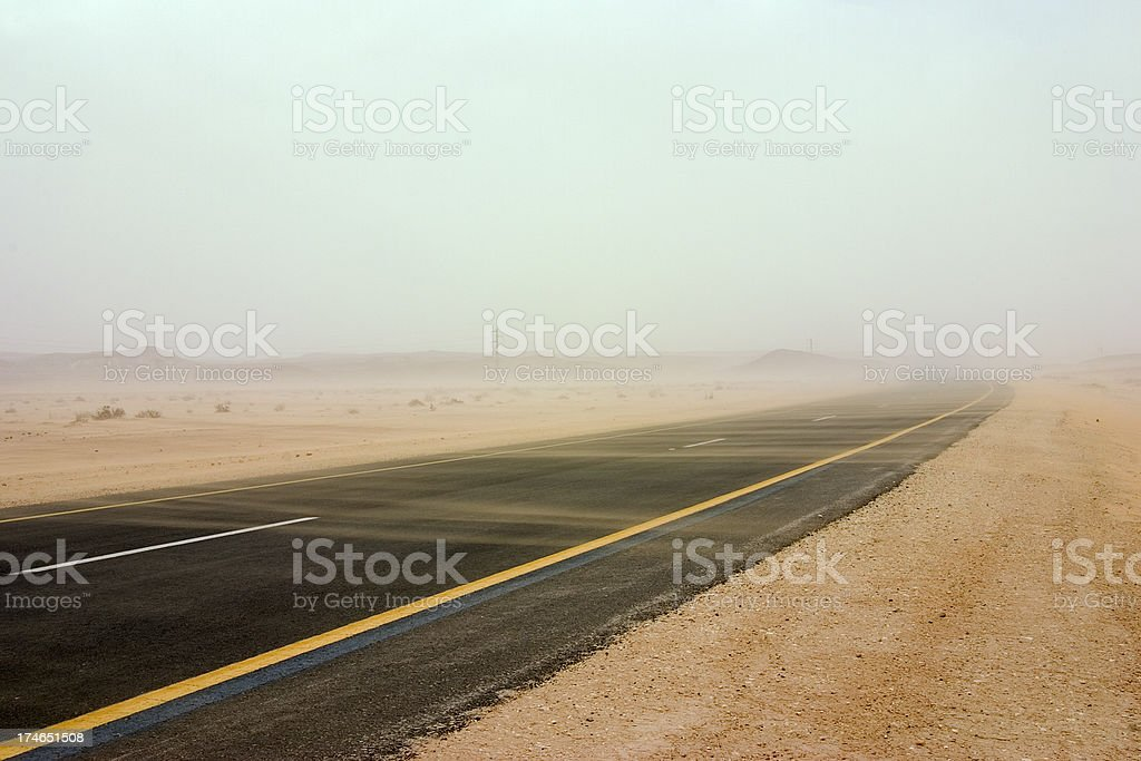 Sandstorm on the road stock photo