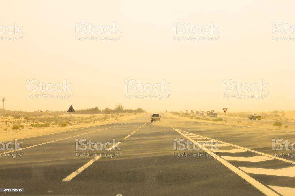 Sandstorm Road stock photo