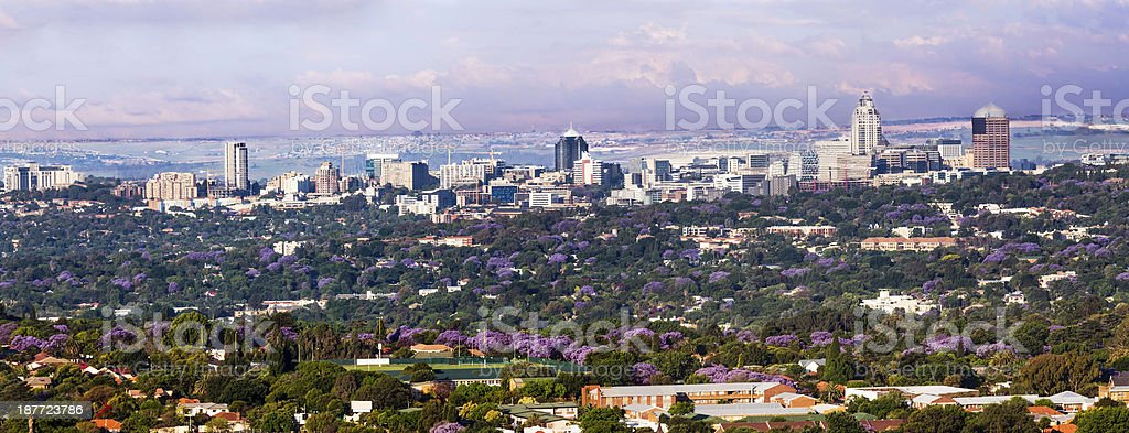 Sandton City panorama from the west stock photo