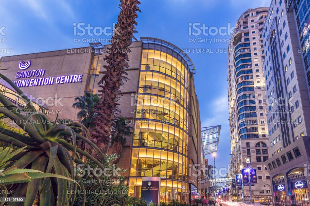 Sandton Convention centre in the evening, Johannesburg stock photo