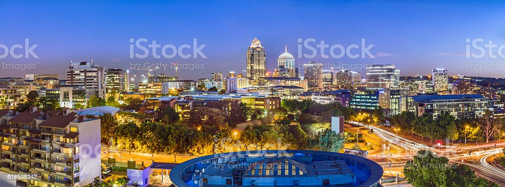 Sandton nightly cityscape large panoramic view stock photo