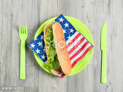 470765518 istock photo Sandvich In Plastic Plate On Wooden Table With American Flag 519730118