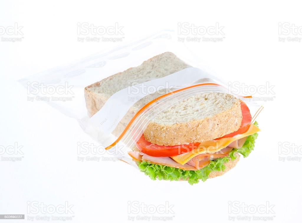 Sandwich always fresh in freezer bag stock photo
