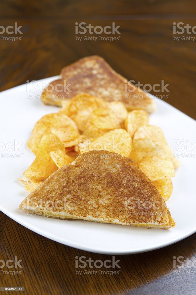 Sandwich and chips royalty-free stock photo