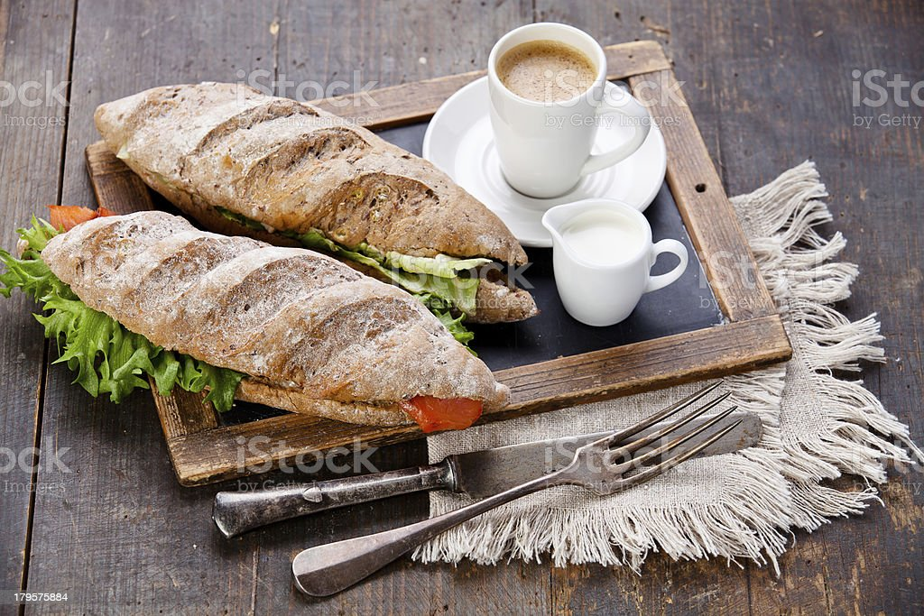 Sandwich and coffee royalty-free stock photo