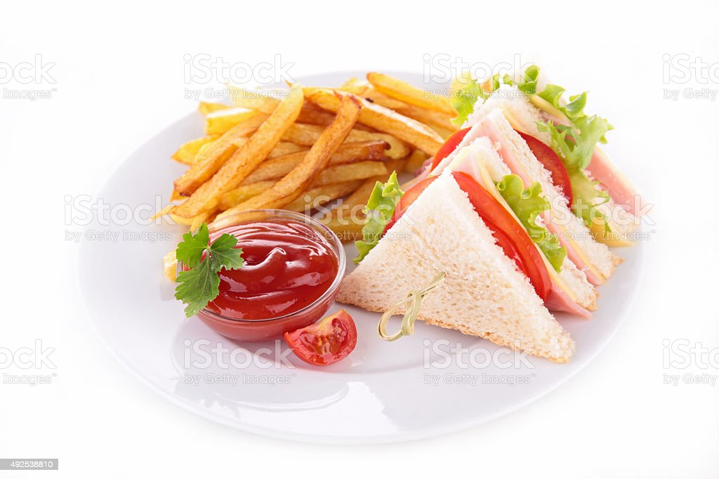 sandwich and french fries stock photo