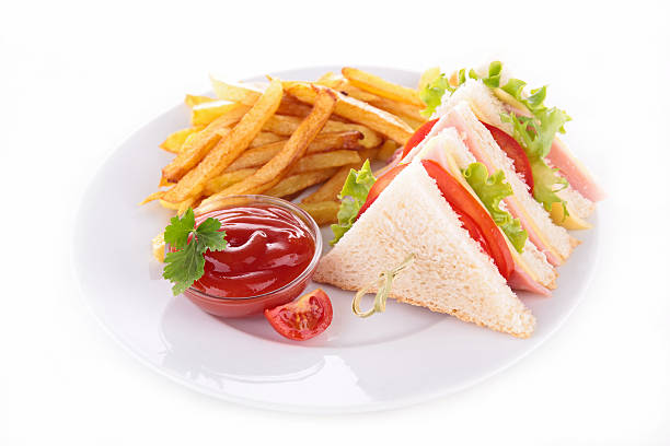 sandwich and french fries - club sandwich stock photos and pictures