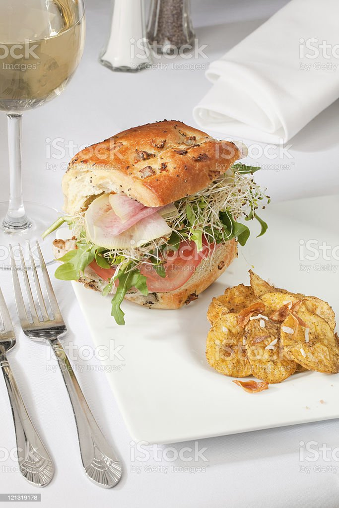 sandwich and plantain chips royalty-free stock photo