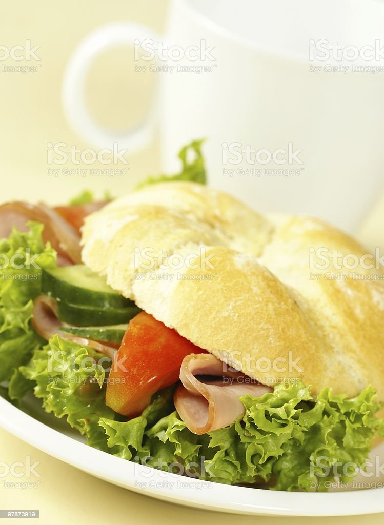 Sandwich and tea royalty-free stock photo