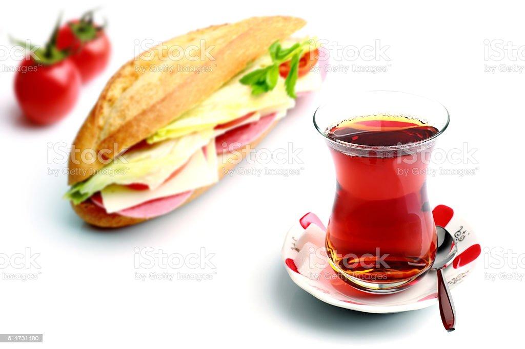 Sandwich and Turkish tea stock photo