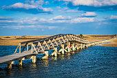 The bridge over Mill Creek in Sandwich, Massachusetts at full tide.