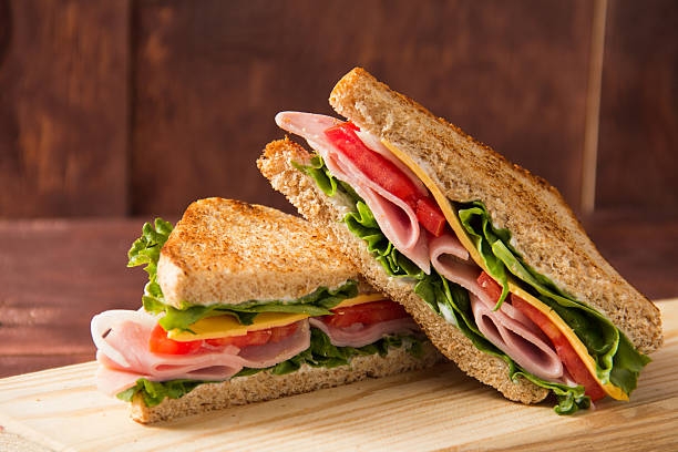 sandwich bread tomato, lettuce and yellow cheese - cheese sandwich bildbanksfoton och bilder