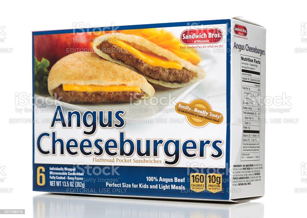 Sandwich Bros Angus Cheeseburgers box side stock photo
