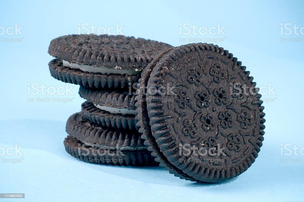 Sandwich Cookies on Blue stock photo