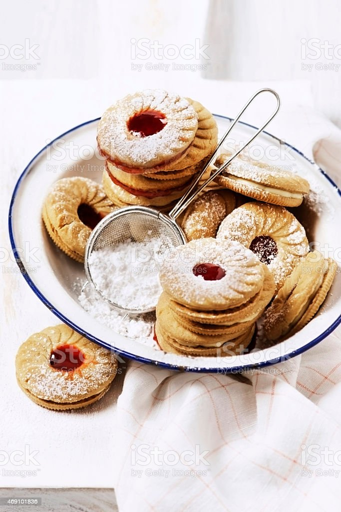 Sandwich cookies stock photo