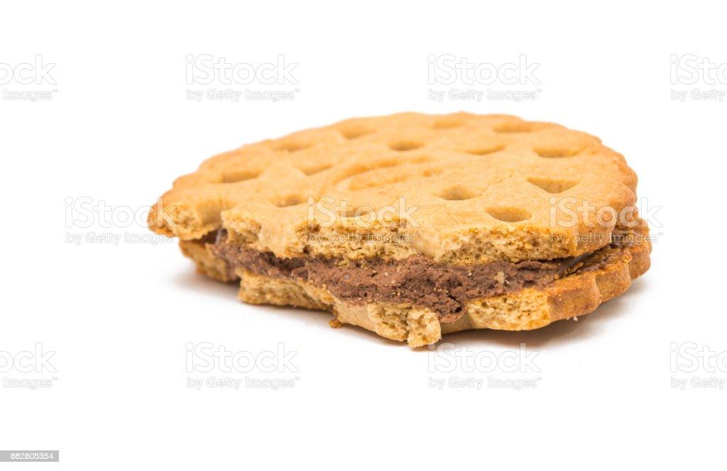 sandwich cookies with cream stock photo