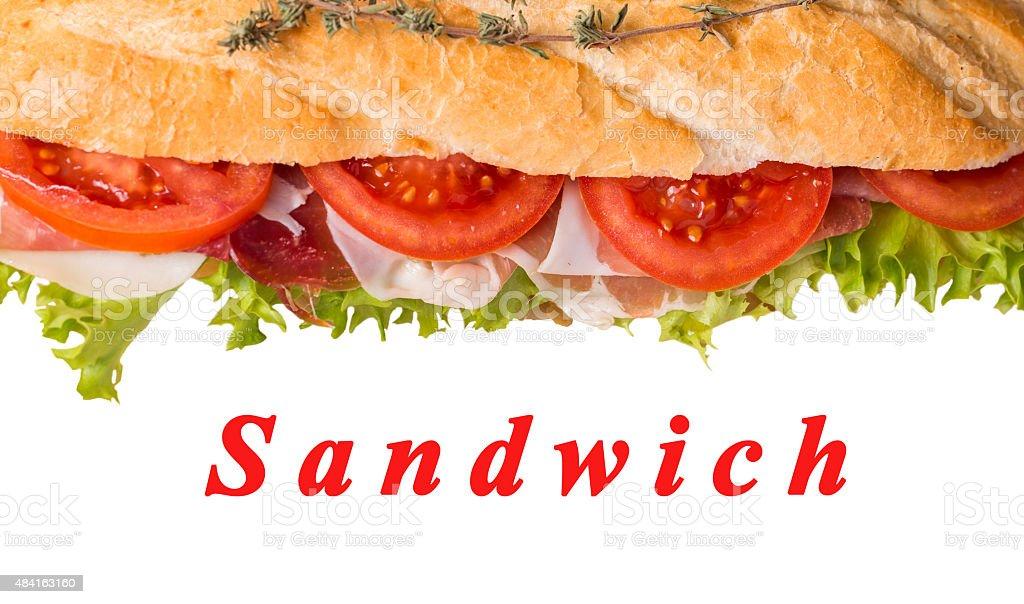 sandwich from fresh baguette stock photo