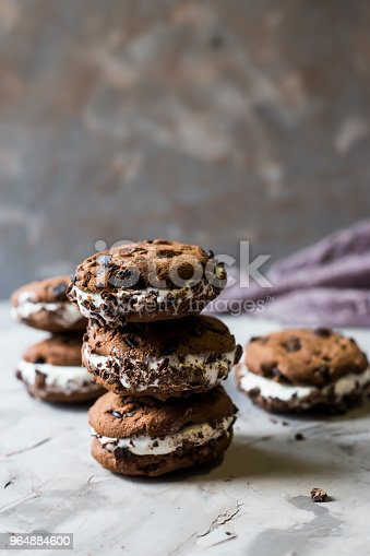 Sandwich Ice Cream With Chocolate Cookies On A Gray Background Summer Dessert Concept Stock Photo & More Pictures of Brown