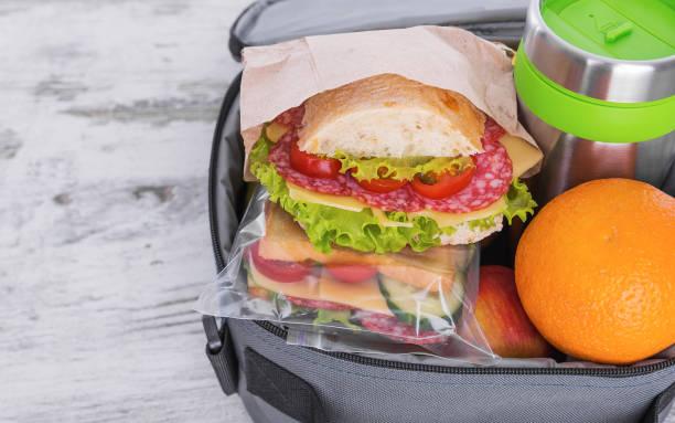 Sandwich in a lunchbox. stock photo