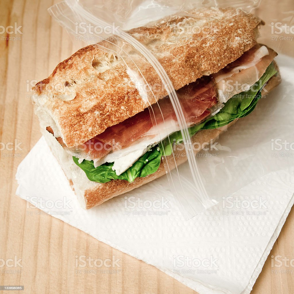 Sandwich in freezer bag stock photo