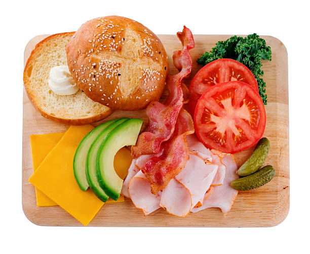 sandwich ingredients - disassembled sandwich stock photos and pictures