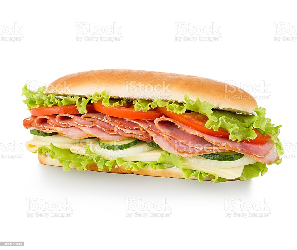 Sandwich isolated on white background stock photo