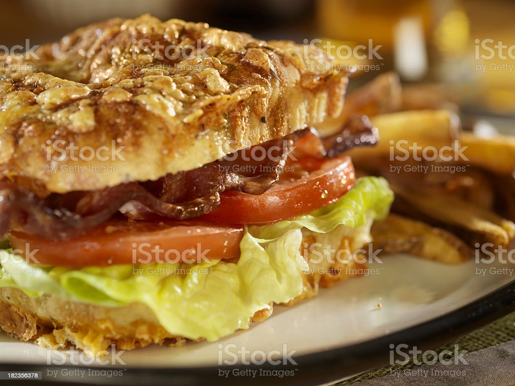 BLT Sandwich on Cheese Focaccia Bread stock photo